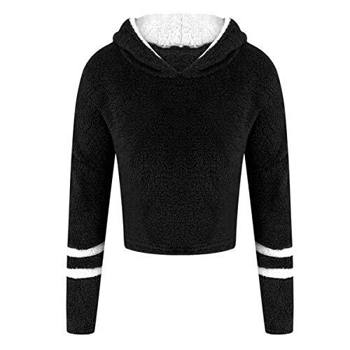 Floweworld Damen Kapuzenpullover Winter Warm Soft Fuzzy Fleece Pullover Langarm Reißverschluss Pullover Bluse Fashion Patchwork Short Outwear -