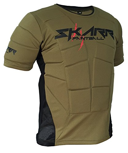 SKARR Paintball et Airsoft Body Armour Vert Olive de Protection sous Gilet rembourré Bounce Gilet à partir de Cksn, and Airsoft Chest Protector, Olive Green/Black