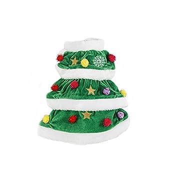vetement noel pour chat costume hiver chien Speedy pet hooodie avec pompon coloré-designe de sapin de noel jolie-M