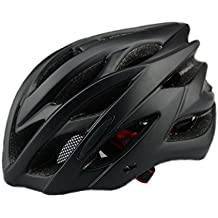 6 x colores - Scott ciclo casco con luz de seguridad, adultos hombres y mujeres deporte casco de ciclismo para bicicleta de carretera y montaña, ligero casco con visera extraíble y maletero ajustable Thrasher., negro