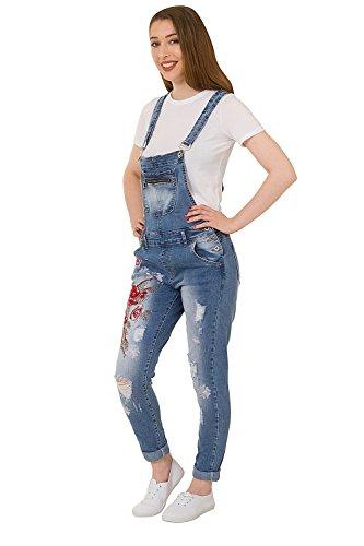 Damen Bestickte Latzhosen - Slim Fit Abnutzungs-Effekt Bib Overall ZARA-M-12