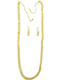 Shree Mauli Creation Golden Alloy Golden Grass Necklace Set For Women SMCN968