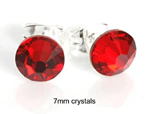 Sparkly 7mm Light Siam Red Crystal Sterling Silver Stud Earrings Made With SWAROVSKI ELEMENTS