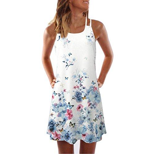 VEMOW Sommer Elegante Damen Frauen Lose Vintage Sleeveless 3D Blumendruck Bohe Casual Täglichen Party Strand Urlaub Tank Short Mini Kleid(Weiß, EU-44/CN-2XL)