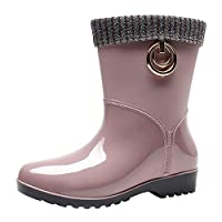 iLPM5 Wellies for Women Plus Velvet Warm Winter Boots Mid Calf Fashion Wellington Ladies Waterproof Rain Boots