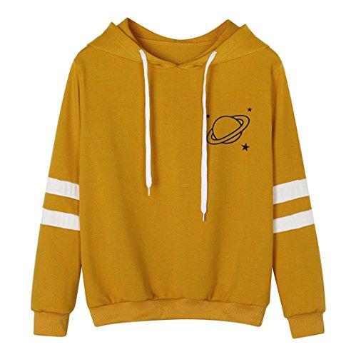 Frauen Hoodies Weiß Mumuj Damen Fashion Langarm Rosa Kapuzenpullover Sweatshirt Printed Hoodie Solid Kausal Urlaub Sommer Herbst Tops Gelb Grau Bluse (Gelb, L)