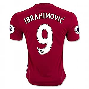 Maglietta di Zlatan Ibrahimovic, n° 9 del Manchester United FC, stagione 2016-2017, colore rosso, Uomo, Red, XL