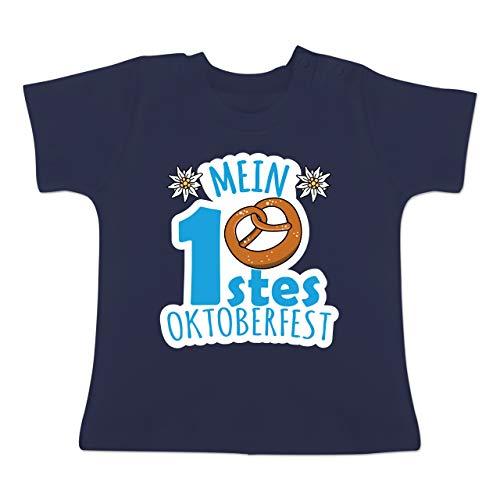 Kostüm 8 Link Bit - Oktoberfest Baby - Mein erstes Oktoberfest - blau - 6-12 Monate - Navy Blau - BZ02 - Baby T-Shirt Kurzarm