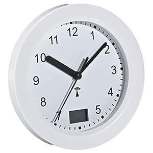 TFA Dostmann Funk Badezimmeruhr, mit Temperaturanzeige, Funkuhr, feuchtigkeitsgeschütztz, 4 große Saugnäpfe-Befestigung, weiß, 60.3501, Kunststoff, L 170 x (B) 59 (84) x (H) 170 mm