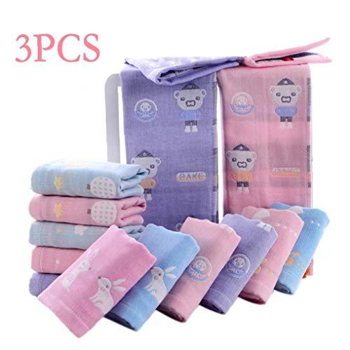 AMOYER 3Pcs / Set Weicher Baumwolle Gaze-Tuch Für Jungen-Mädchen-Baby-Kind-Fütterung Handkerchief Baden-Tuch Für Babypflege (Zufällige Farbe) -