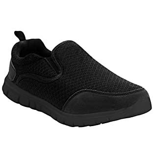 Airtech Mens Twin Gusset Slip On Go Walk Casual Breathable Mesh Fitness Gym Sports Running Trainers Shoes UK Sizes 7-12 (UK 10, All Black)
