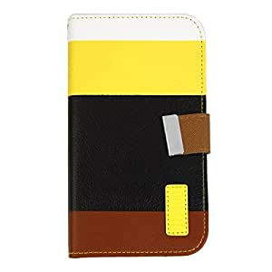 PU Leather + Plastic Protective Case with Colorful Bars for Samsung N7100 Yellow