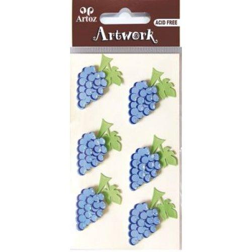artoz-artwork-3d-motiv-sticker-185550-35-traube-mit-glitter-verziert-handmade1