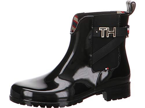 Tommy Hilfiger Damen TH Hardware Rubber Bootie Stiefeletten, Schwarz (Black 990), 39 EU -