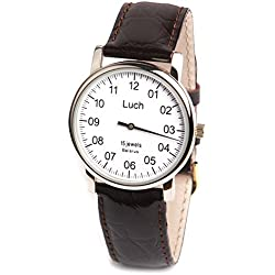 Single Hand LUCH Mechanical Wristwatch. White Dial. Zirconium Nitride. 337477760