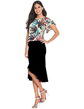 Faldas AsiméTrica De Color SóLido Con Volantes LHWY, Faldas Elegante De Verano Oficina Hasta La Rodilla Falda...