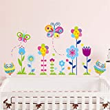 Mddjj Home Küche Kunstwerk Cartoon Bunte Blumen Schmetterling Eule Dekorative Wandaufkleber Für Kinderzimmer Schlafzimmer Kindergarten Diy Removable Room Decor