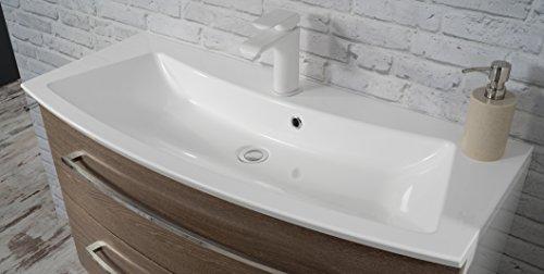 Fackelmann Waschtisch RONDO / Waschtisch mit einem Becken / Badmöbel / Maße (BxHxT): ca. 100 x 12 x 47 cm / Korpus Farbe Anthrazit / Front Farbe Weiß Hochglanz / Breite 52 cm / Waschbecken / Waschtisch fürs Bad