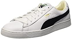 Puma Mens Basket Classic White and Black Leather Boat Shoes - 11 UK/India (46 EU)