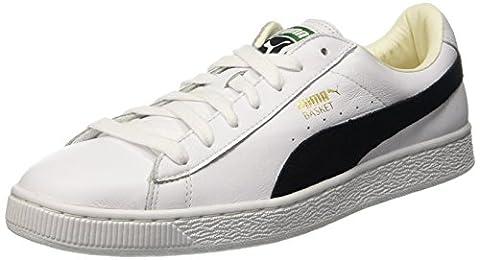 Puma Basket Classic, Basses homme- Blanc (White-black)- 9 UK 43 EU