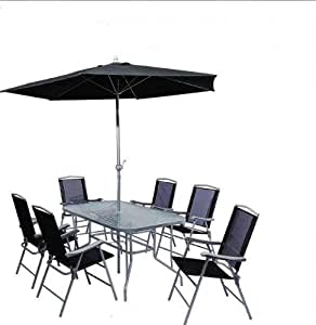 Cb Imports 6 Seater Metal Patio Furniture Set Including Parasol Glass Table And 6 Chairs