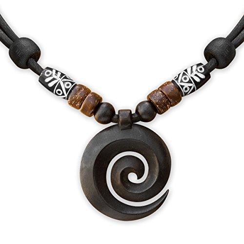 HANA LIMA ® Surferkette Koru Maori Wood Carving Neuseeland Lederkette Surferhalskette - Halskette Für Männer Hawaii