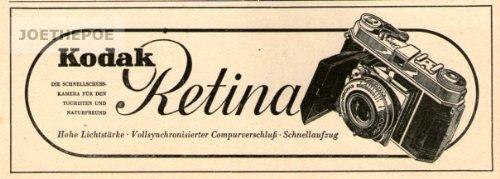 Alte Kodak Kamera (1952 - Anzeige / Inserat : KODAK RETINA / MOTIV KAMERA IM OVAL - Format 140x50 mm - alte Werbung / Originalwerbung/ Printwerbung / Anzeigenwerbung)