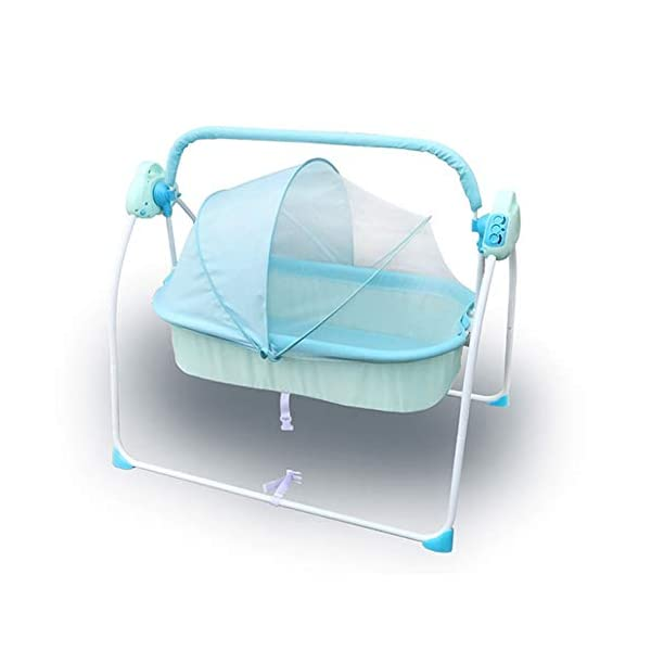 Mr.LQ Electric Shaker Electric Cradle Bed Baby Shake Bed Newborn Sleeping Intelligent Automatic Flat Lay Crib,Pink  ?Special design: Carefully design every detail to create a comfortable feeling for your baby. It is closer to the mother's arms. ?Safety: thick steel pipe, strong carrying capacity, anti-slip mat on the foot, ensuring the base is strong, will not damage the floor ?Additional features: 3-speed swing, 3-speed timing, 6 music, with mattress and mosquito net 3