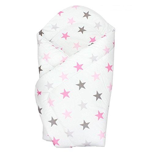 TupTam Baby Einschlagdecke Warm Wattiert Baumwolle, Farbe: Sterne Rosa 2, Größe: ca. 75 x 75 cm