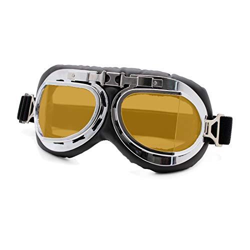 Retro Motorradbrille Brille Vintage Moto Classic Brille Für Harley Pilot Steampunk ATV Fahrrad Kupfer Helm (Color : Retro Goggles 1 Y)