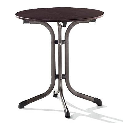 Sieger 1125-70 Boulevard-Tisch mit Puroplan-Platte Durchmesser 68 cm, Stahlrohrgestell marone, Tischplatte Schieferdekor mocca
