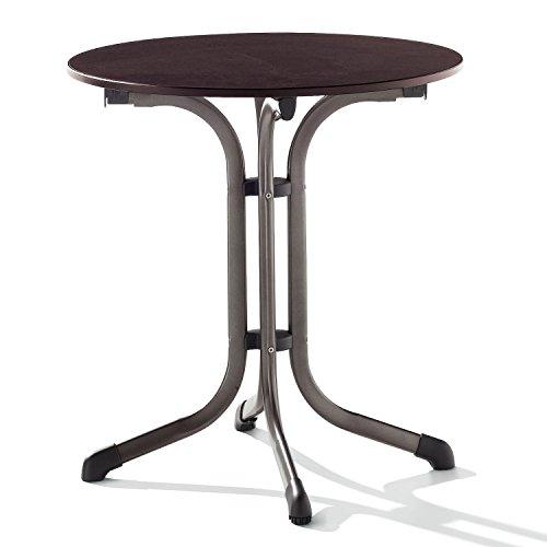 Sieger 1125-70 Boulevard-Tisch mit Puroplan-Platte Durchmesser 68 cm, Stahlrohrgestell marone,...