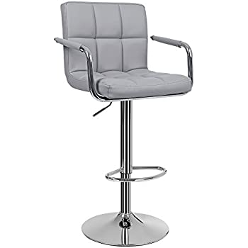 Homcom Metal Swivel Bar Stool Pu Back Arm Rest Chrome Base