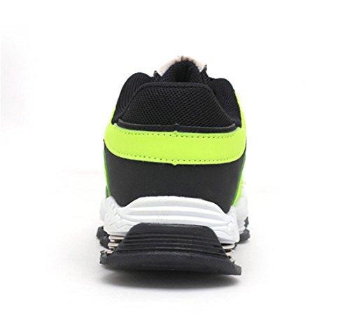 Wealsex Baskets Sneakers Basses Respirant Mesh Lacet Chaussures de Sport Running Compétition Entrainement Mixte Enfant Garçon Fille Vert