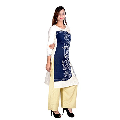 KNOTS & THREADS Women's Cotton Printed Straight Kurta/Kurti, With Solid Rayon Beige/...