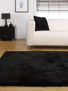 Grand Tapis Epais Souple Lourd Couleur Noire 120 x 170 cm
