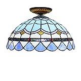 YJFFAN 40Cm Einfache Mediterrane Deckenleuchte, Tiffany Buntglas Augenschutz Licht, Restaurant-Schlafzimmer-Gang-Korridor Rund Deckenlampe, 110V-240V-Blau,40CM