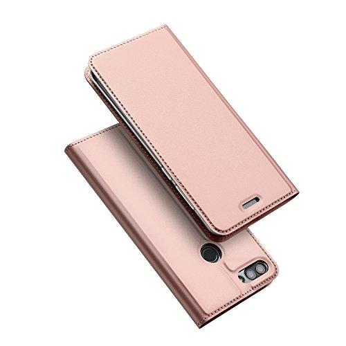 Huawei P Smart Hülle,DUX DUCIS Handyhülle [Standfunktion] [1 Kartenfach] [Magnetverschluss] [Rose Golden] Ultra Dünn Holster,Slim Flip Case Cover,Ledertasche Schutzhülle für Huawei P Smart (Skin Pro Series)