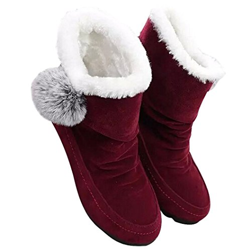 Stiefel Damen Clode® Frauen Art und Weiseknöchel Aufladungen flache beiläufige Schuhe wärmen Veloursleder-Schuhe Rot