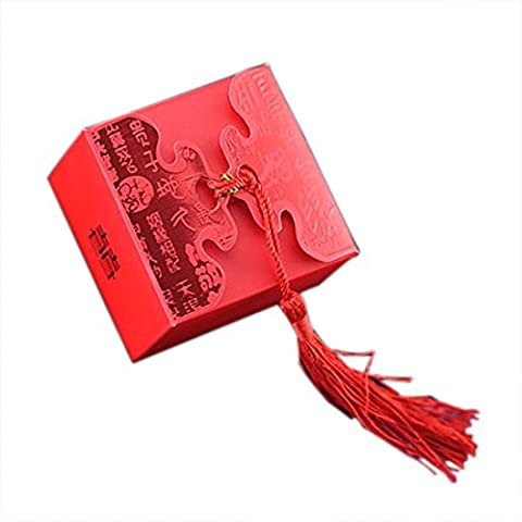 Large Wedding Favors Packaging Box With Red Macrame Candy Box, Wedding Party Packaging Box 20Pieces (Candies or chocolates not included)
