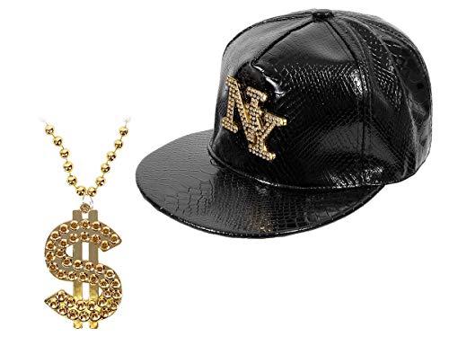 r Pimp Swag Outfit Set (Kv-102) - goldene Dollar Bling Bling Kette mit Snapback New York Schwarz ()