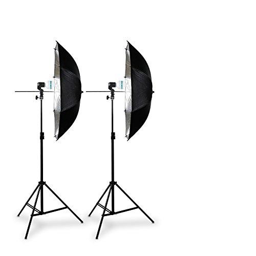 Hochwertiges HAUSER & PICARD 400 Watt Double-Set: 2x Reflex-Schirm Silber + 2x Foto-ESL + 2x Foto-Stativ   Foto-Schirm / Studio-Schirm / Studio-Licht inklusive 2x Schnellstart-Tageslichtlampe (5500 K) mit 400 Watt Äquivalenzleistung und 2x Foto-Stativ
