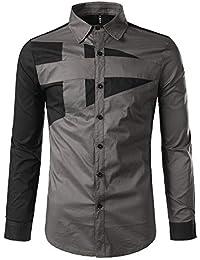 2e4a56ee92 Camisa de vestir slim fit para hombre Camisa de vestir de corte regular con  cuello redondo