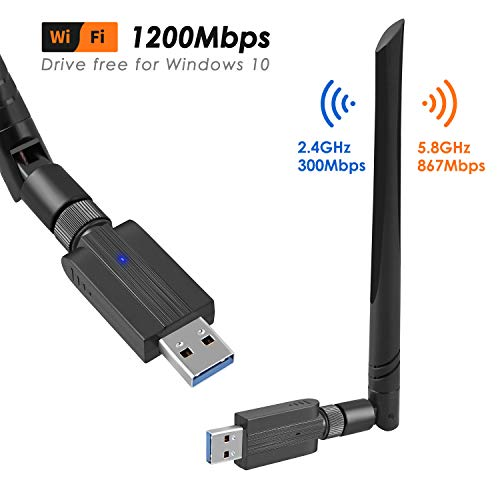 USB Wifi Adaptador, Antena Wifi USB Inalámbrico Dual Band 2.4G / 5.8G 802.11 ac WiFi Dongle con Antena de 5dBi Receptor Soporte Windows 10/8/8.1/7/Vista/XP/2000,Mac OS 10.4-10.12