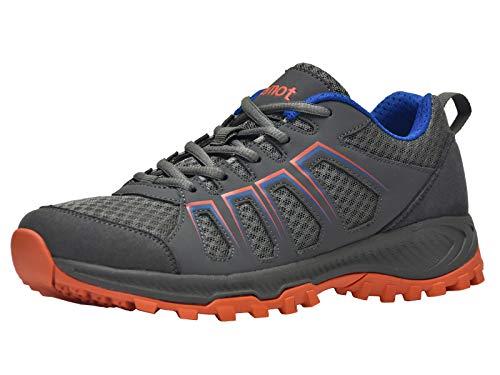 Riemot sneakers uomo, scarpe da sportive, trail running, trekking, ginnastica, corsa, fitness estive casual basse grigio/arancia 44 eu