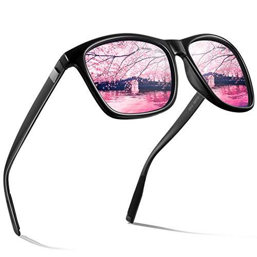 wearPro Männer Polarisierte Sonnenbrille Herren Sonnenbrille für Männer HD Objektiv Metallrahmen Herren Sonnenbrille WP 2003(Rosa)