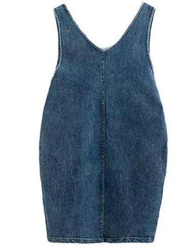 PU&PU Robe Aux femmes Denim Street Chic,Couleur Pleine Col en V Au dessus du genou Coton BLUE-ONESIZE