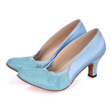Silence @ pour femme Chaussures de danse latine en similicuir évasé Talon bleu clair