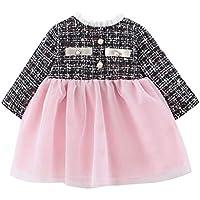 ZHMEI Vestidos de niñas Elegantes | Ropa de Vestir de Princesa de Tul de Retazos de Tela Escocesa a Rayas para bebés y niños pequeños 6 Meses - 3 años