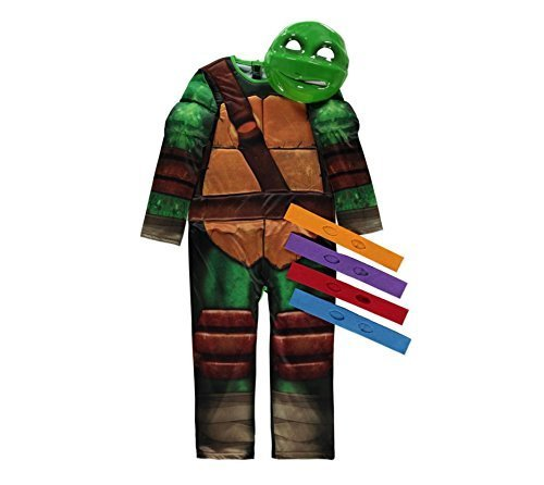 (Nickelodeon licensed TMNT Teenage Mutant Ninja Turtle fancy dress 5-6 Years With Mask & 4 Eyebands Made by Rubies for 'George' by Rubies for George)